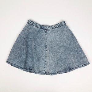 Topshop Denim Blue Acid Wash Skater Circle Skirt